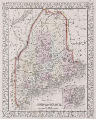 Historic Map : County Map of the State of Maine., 1866 , Vintage Wall Art