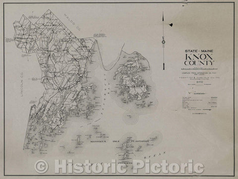 Historic Map : Knox County, State of Maine, 1932 , Vintage Wall Art