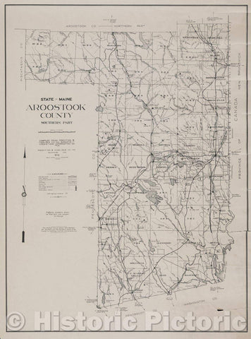 Historic Map : State of Maine: Aroostook County Southern Part  Compiled from Prentiss and Carlisle Co. Inc. Surveys - U.S.G.S - and Information on File, 1935 , Vintage Wall Art