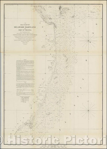 Historic Map - Sea Coast of Delaware and parto of Virginia From a Trigonometrical Survey, 1852, United States Coast Survey - Vintage Wall Art