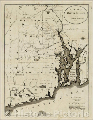 Historic Map - The State of Rhode Island from the Latest Surveys, 1796, John Reid - Vintage Wall Art