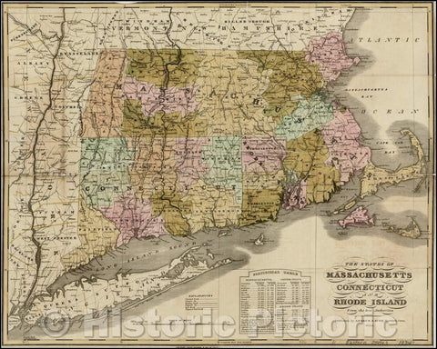 Historic Map - The States of Massachusetts Connecticut And Rhode Island From the best Authorities, 1834, Andrus - Vintage Wall Art
