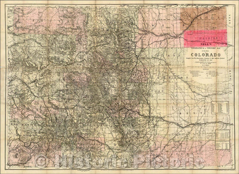 Historic Map - Nell's New Topographical & Township Map of the State of Colorado, 1885, Louis Nell - Vintage Wall Art