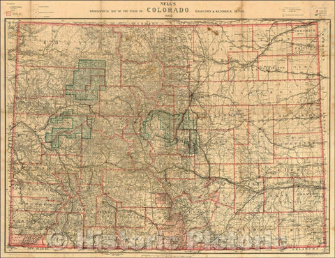 Historic Map - Nell's Topographical Map of the State of Colorado, 1902, Louis Nell - Vintage Wall Art