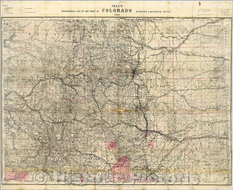 Historic Map - Nell's Topographical & Township Map of the State of Colorado. Hamilton & Kendrick. Denver, 1895, Louis Nell - Vintage Wall Art