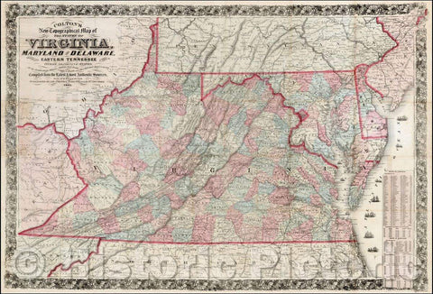 Historic Map - Colton's New Topographical Map of the States of Virginia, Maryland and Delaware Showing also East Tennessee, 1861, Joseph Hutchins Colton - Vintage Wall Art