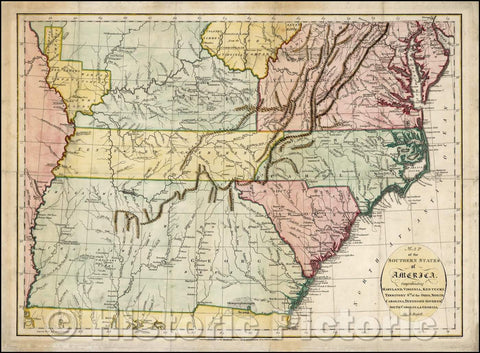 Historic Map - Map of the Southern States of America, Comprehending Maryland, Virginia, Kentucky, Territory South of the Ohio, North Carolina, Tennesseee, 1794 v1