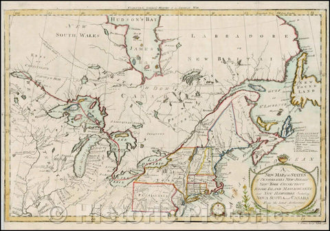 Historic Map - The States of Pensylvania New Jersey New York Connecticut Rhode Island Massachusets and New Hampshire Including Nova Scotia and Canada Fr, 1789 - Vintage Wall Art
