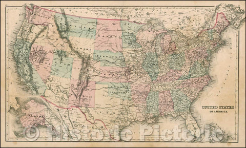 Historic Map - United States of America [Alaska inset], 1875, O.W. Gray - Vintage Wall Art