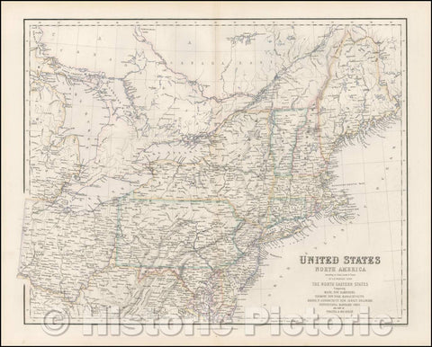 Historic Map - United States of North America -Maine, N Hampshire, Vermont, N York, Massachusetts, Rhode Id, Connecticut, 1855 - Vintage Wall Art
