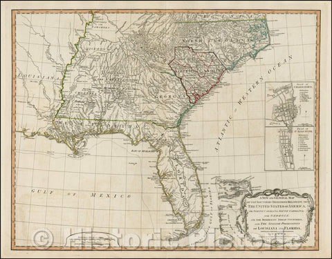 Historic Map - A New and General Map of the Southern Dominions Belonging to The United States of America, viz North Carolina, South Carolina, and Georgia, 1794 v2