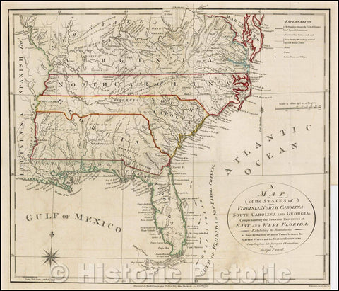 Historic Map - States of Virginia, North Carolina, South Carolina and Georgia; Comprehending the Spanish Provinces of East and West Florida: Exhibiting, 1792 - Vintage Wall Art