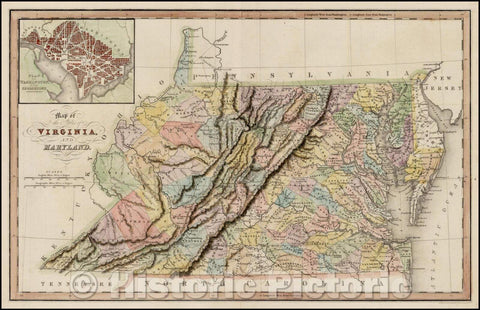 Historic Map - Map of the States of Virginia and Maryland (with DC inset), 1831, Hinton, Simpkin & Marshall - Vintage Wall Art
