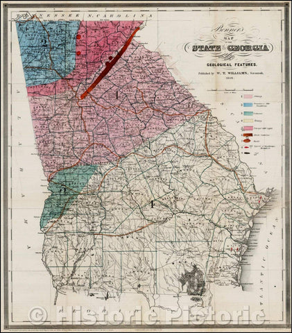 Historic Map - Bonner's Map of the State of Georgia with the Addition of its Geological Features, 1849, W. T. Williams - Vintage Wall Art