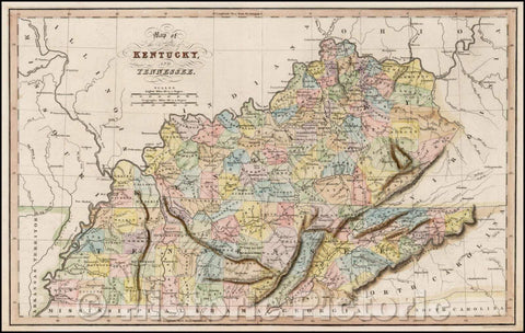 Historic Map - Map of the States of Kentucky and Tennessee, 1832, Hinton, Simpkin & Marshall - Vintage Wall Art