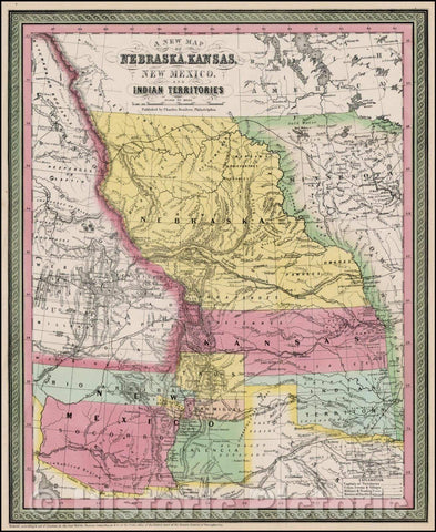 Historic Map - Nebraska, Kansas, New Mexico And Indian Territories [Rare First State!], 1855, Charles Desilver - Vintage Wall Art
