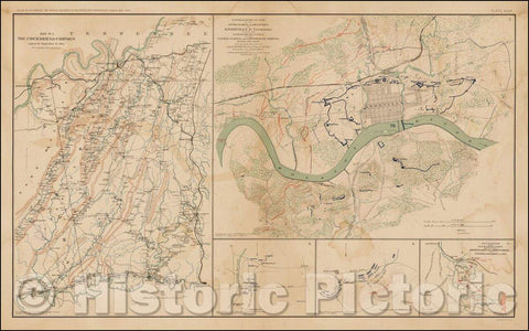 Historic Map - The Chickamauga Campaign August 16 - September 22, 1863 (and) Topographical Map of the Approaches and Defenses of Knoxville, Tennessee, 1891 - Vintage Wall Art