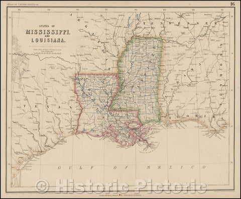 Historic Map - States of Mississippi and Louisiana, 1857, Henry Darwin Rogers - Vintage Wall Art