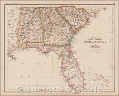 Historic Map - States of South Carolina, Georgia, Alabama And Florida, 1857, Henry Darwin Rogers - Vintage Wall Art