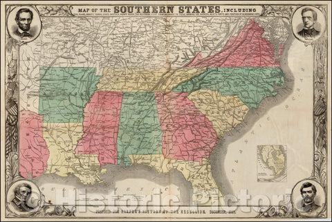 Historic Map - Map of the Southern States, Including Rail Roads, County Towns, State Capitals, County Roads, The Southern Coast From Delaware To Texas, 1863 v1