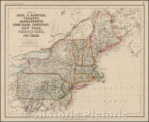 Historic Map - States of Maine, N. Hampshire, Vermont, Massachusettes, Rhode Island, Connecticut, New York, Pennsylvania, and New Jersey, 1857 - Vintage Wall Art