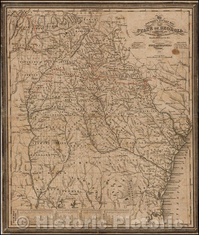 Historic Map - The Tourist's Pocket Map of the State of Georgia Exhibiting Its Internal Improvements Roads Distances &c, 1836, Samuel Augustus Mitchell - Vintage Wall Art