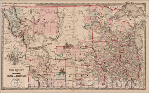 Historic Map - Upper Mississippi and Missouri States and Territories, 1866, H.S. Stebbins - Vintage Wall Art