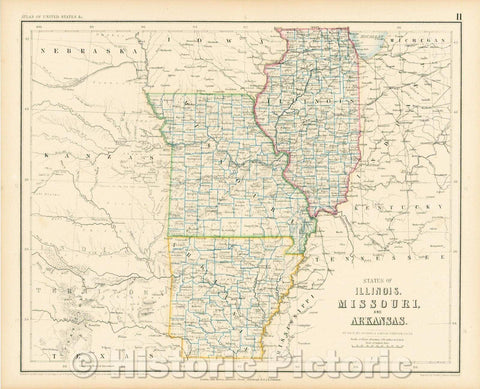 Historic Map - States of Illinois, Missouri and Arkansas, 1857, Henry Darwin Rogers v2
