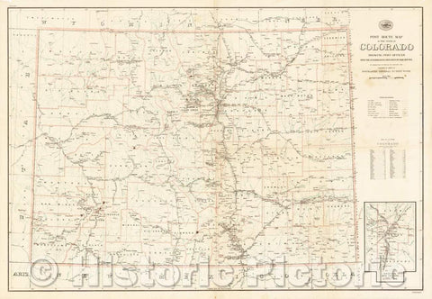 Historic Map - Post Route Map of the State of Colorado Showing Post Offices Mail Routes In Operation On The 1st of January, 1923, 1923, United States GPO - Vintage Wall Art