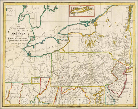 Historic Map - Map of the Middle States of America. Comprehends New-York, New-Jesey, Pennsylvania, Delaware and the Territory N.W. of Ohio, 1794, John Russell v2