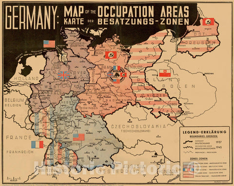 Historic Map - Germany: Map of the Occupation Areas/Map depicts Germany and Central Europe in the immediate wake of World War II, 1945, Atlanta Map - Vintage Wall Art