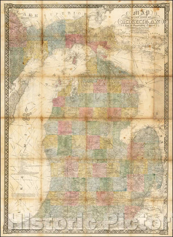 Historic Map - Map of the State of Michigan and the Surrounding Country, Exhibiting the Sections and the Latest Surveys, 1873, John Farmer - Vintage Wall Art