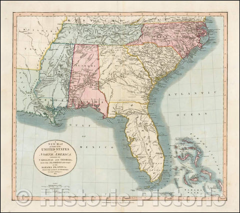 Historic Map - Part of the United States of North America Containing The Carolinas And Georgia. Also The Floridas And Part Of The Bahama Islands &c, 1821 - Vintage Wall Art