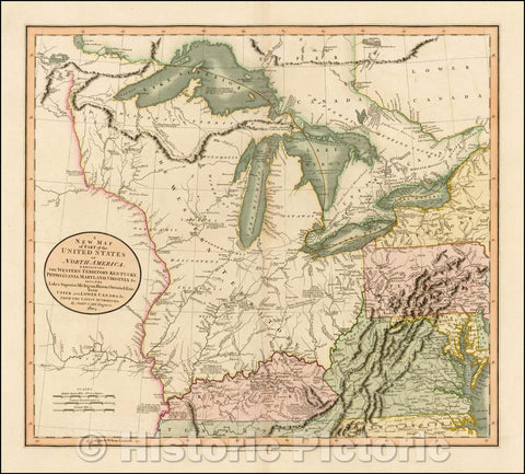 Historic Map - Part of the United States of North America, Exhibiting The Western Territory, Kentucky, Pennsylvania, Maryland, Virginia, 1805, John Cary - Vintage Wall Art