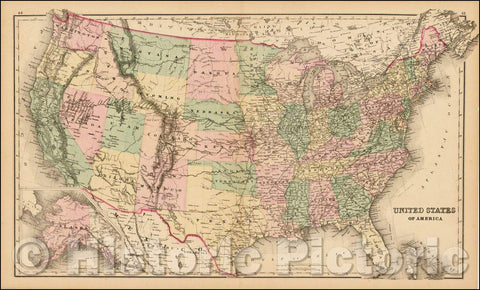 Historic Map - United States of America [Alaska inset], 1873, O.W. Gray - Vintage Wall Art