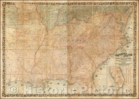 Historic Map - Southern States. Including Maryland, Delaware, Virginia, Kentucky Tennessee, Missouri, North Carolina, South Carolina, Georgia, 1861 - Vintage Wall Art