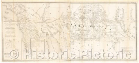 Historic Map - of That Portion of the Boundary between the United States and Mexico From the Pacific Coast To The Junction of the Gila and Colorado Rivers, 1855 - Vintage Wall Art