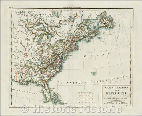 Historic Map - Carte Generale Des Etats-Unis .1806 / Map of the United States, extending beyond the Mississippi River, 1806, Mentelle - Vintage Wall Art