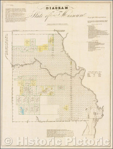 Historic Map - Diagram of the State of Missouri, 1837, U.S. General Land Office - Vintage Wall Art