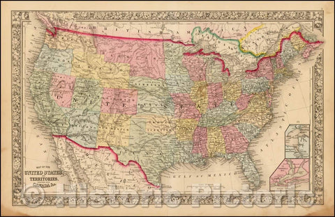 Historic Map - Map of the United States And Territories, Together with Canada (Unique Early Idaho Configuration), 1863, Samuel Augustus Mitchell Jr. - Vintage Wall Art