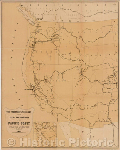 Historic Map - Transmississippi West The Transportation Lines of the States and Territories of the Pacific Coast, 1885, United States Treasury Department - Vintage Wall Art