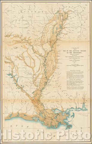 Historic Map - Map of the Alluvial Region of the Mississippi, 1861, United States War Dept. - Vintage Wall Art