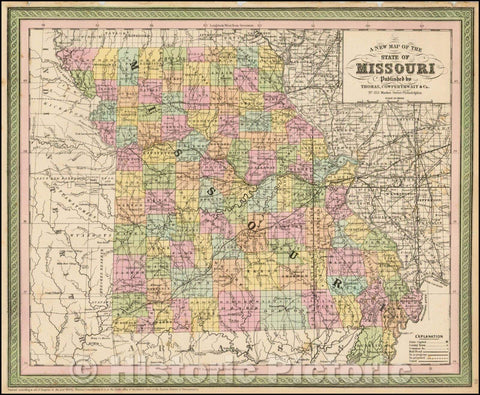 Historic Map - Map Of The State Of Missouri, 1851, Thomas, Cowperthwait & Co. - Vintage Wall Art