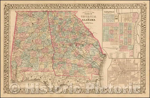 Historic Map - County Map of the States of Georgia and Alabama [Insets of Atlanta and Savannah], 1880, Samuel Augustus Mitchell Jr. v1