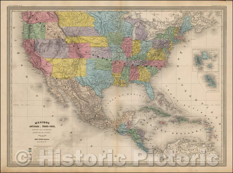 Historic Map - Mexique, Antilles, Etats-Unis (Early Depiction of Idaho Territory & Montana Territory) :: United States, Shoshone, Idaho & Montana Territories, 1863 - Vintage Wall Art
