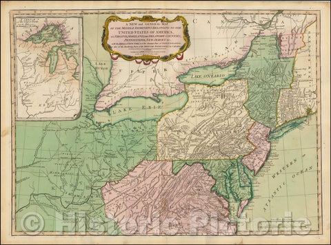 Historic Map - Middle Dominions Belonging to the United States of America, viz. Virginia, Maryland, The Delaware-Counties, Pennsylvania, 1794, James Whittle - Vintage Wall Art