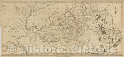 Historic Map - State of Kentucky, from Actual Survey, 1795, Thomas Condor - Vintage Wall Art