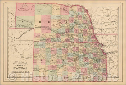 Historic Map - County & Township Map of the States of Kansas and Nebraska, 1884, Samuel Augustus Mitchell Jr. - Vintage Wall Art