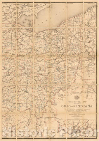 Historic Map - Ohio Post Road Map of the States of Ohio and Indiana with Adjacent Parts of Pennsylvania Michigan Illinois Kentucky and West Virginia, 1885 - Vintage Wall Art