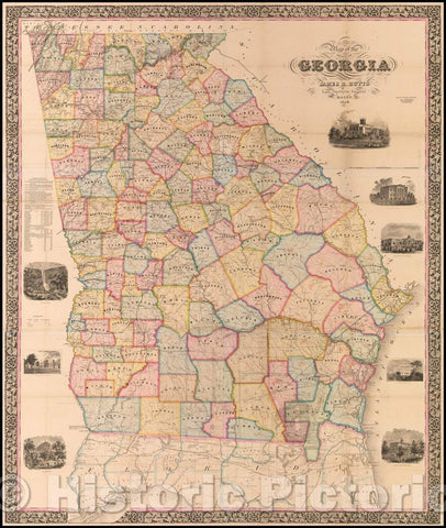 Historic Map - Map of the State of Georgia, 1859, James R. Butts - Vintage Wall Art